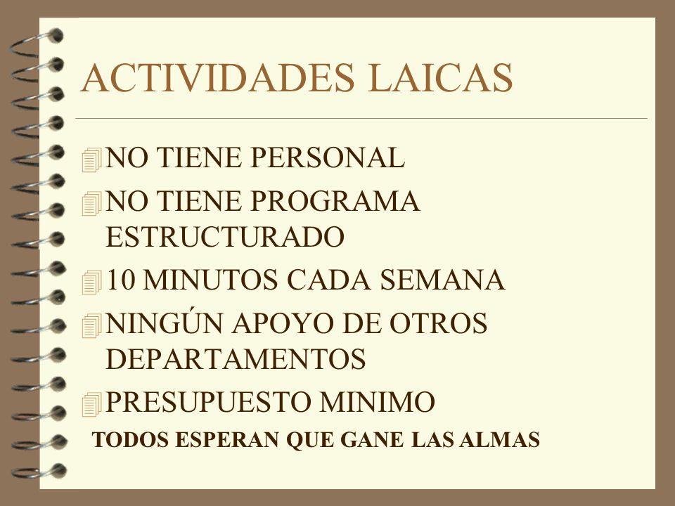 ACTIVIDADES LAICAS 4 NO TIENE PERSONAL 4 NO TIENE PROGRAMA ESTRUCTURADO 4 10 MINUTOS CADA SEMANA 4 NINGÚN APOYO DE OTROS DEPARTAMENTOS 4 PRESUPUESTO MINIMO TODOS ESPERAN QUE GANE LAS ALMAS