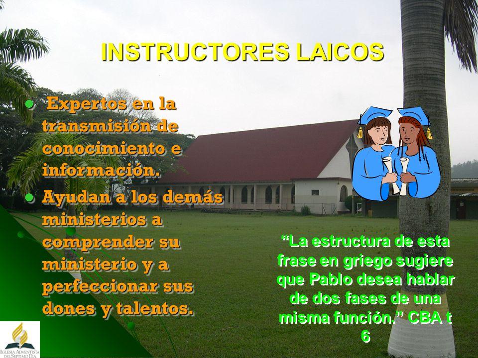 INSTRUCTORES LAICOS INSTRUCTORES LAICOS Expertos en la transmisión de conocimiento e información. Expertos en la transmisión de conocimiento e informa