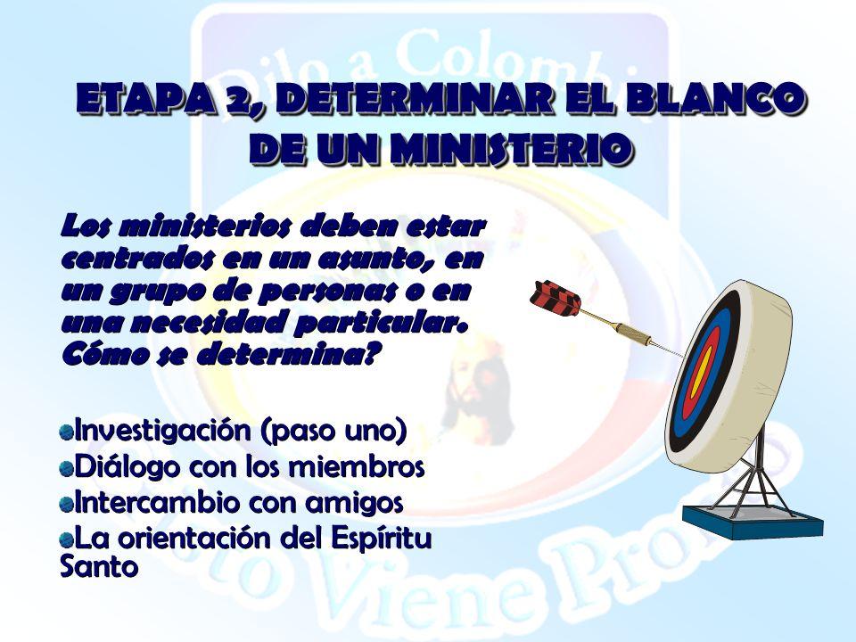 ETAPA 2, DETERMINAR EL BLANCO DE UN MINISTERIO Los ministerios deben estar centrados en un asunto, en un grupo de personas o en una necesidad particul