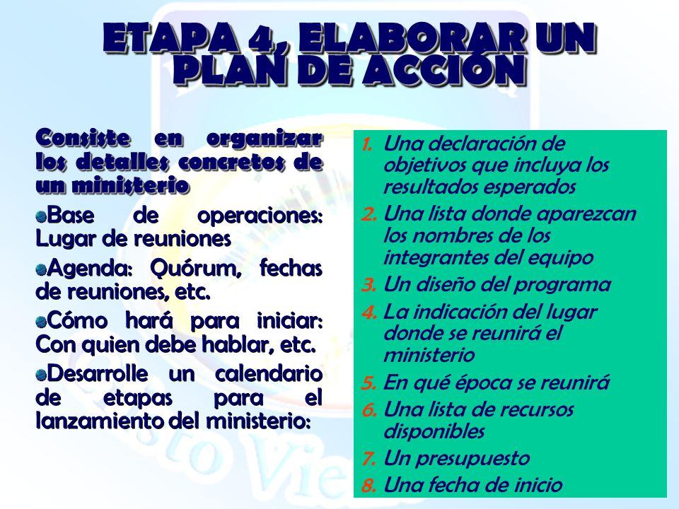 ETAPA 4, ELABORAR UN PLAN DE ACCIÓN Consiste en organizar los detalles concretos de un ministerio Base de operaciones: Lugar de reuniones Agenda: Quór