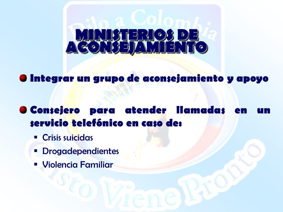 MINISTERIOS DE ACONSEJAMIENTO Integrar un grupo de aconsejamiento y apoyo Consejero para atender llamadas en un servicio telefónico en caso de: Crisis