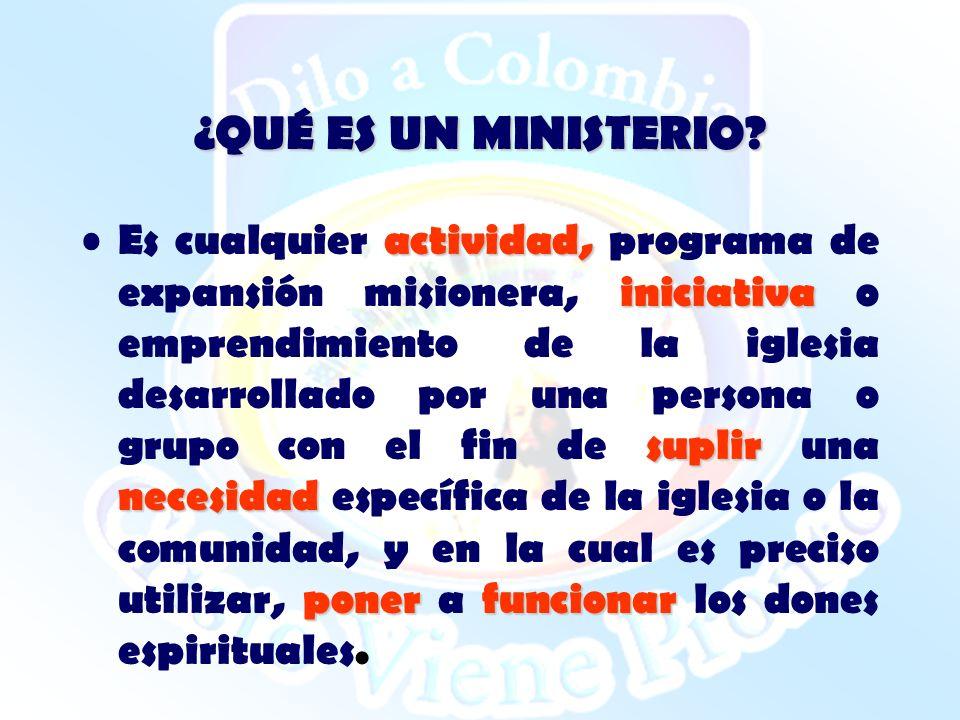¿QUÉ ES UN MINISTERIO? actividad, iniciativa suplir necesidad ponerfuncionar Es cualquier actividad, programa de expansión misionera, iniciativa o emp