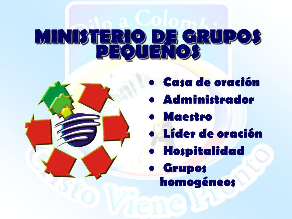 MINISTERIO DE GRUPOS PEQUEÑOS Casa de oración Administrador Maestro Líder de oración Hospitalidad Grupos homogéneos