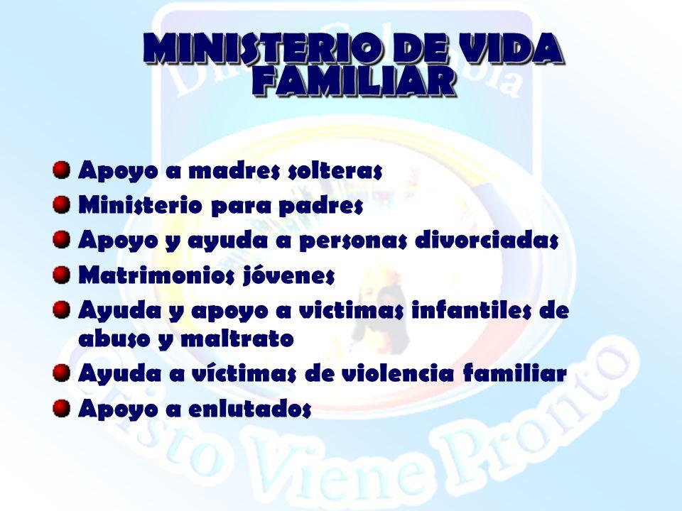 MINISTERIO DE VIDA FAMILIAR Apoyo a madres solteras Ministerio para padres Apoyo y ayuda a personas divorciadas Matrimonios jóvenes Ayuda y apoyo a vi