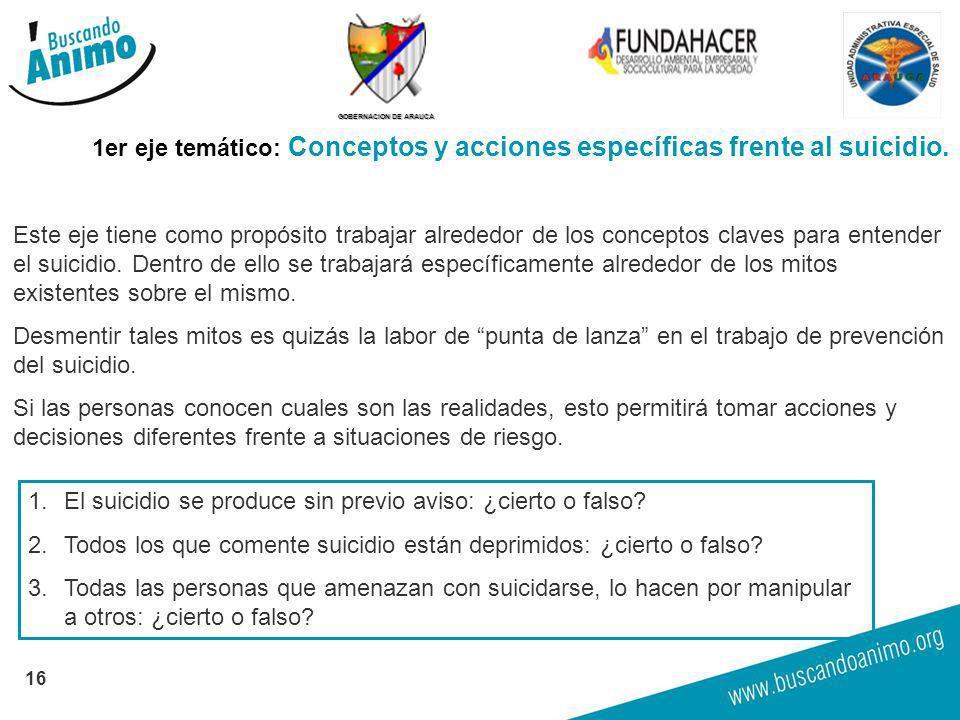 GOBERNACION DE ARAUCA 16 1er eje temático: Conceptos y acciones específicas frente al suicidio. Este eje tiene como propósito trabajar alrededor de lo