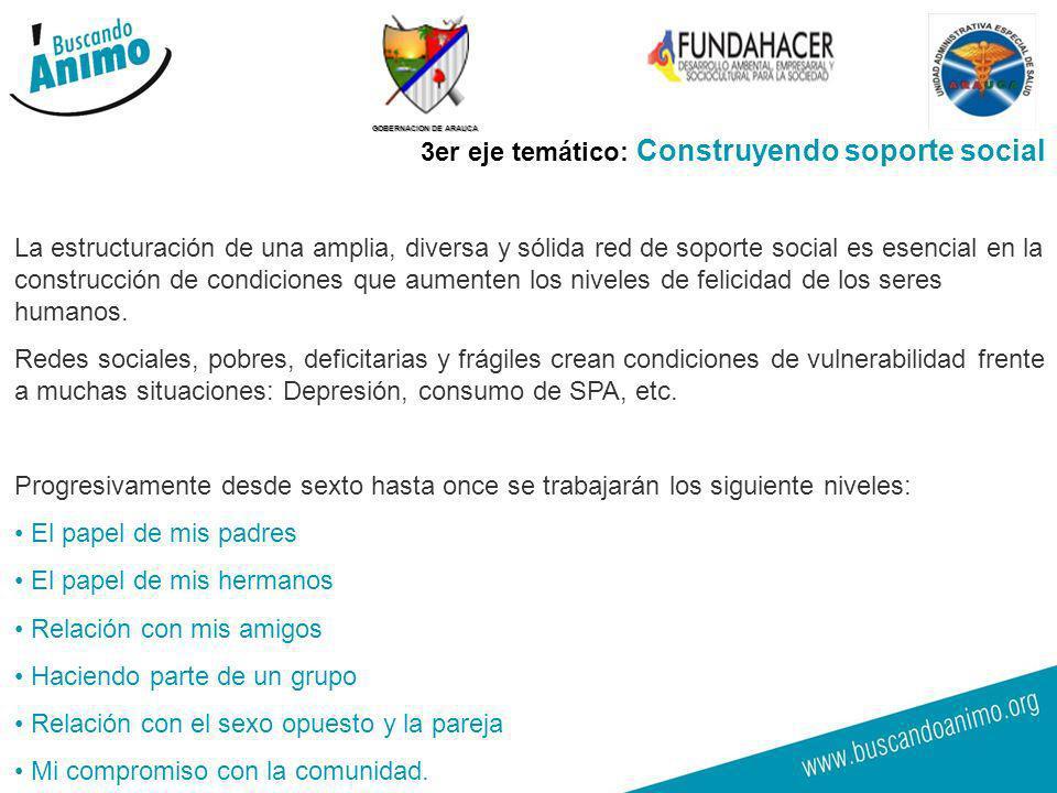 GOBERNACION DE ARAUCA 18 3er eje temático: Construyendo soporte social La estructuración de una amplia, diversa y sólida red de soporte social es esen
