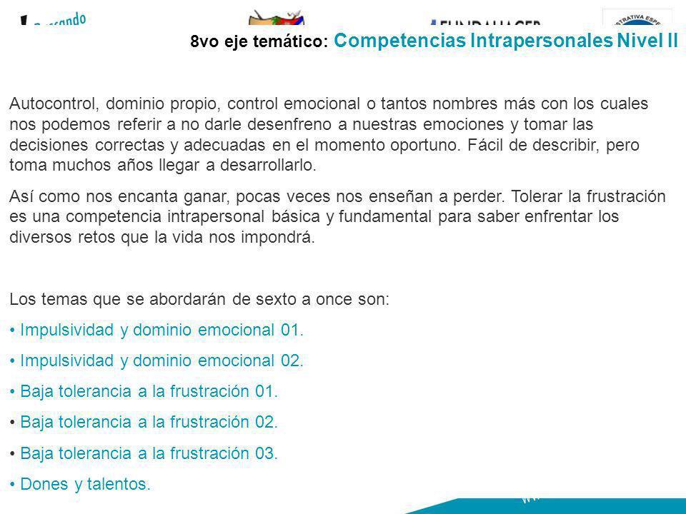 GOBERNACION DE ARAUCA 23 8vo eje temático: Competencias Intrapersonales Nivel II Autocontrol, dominio propio, control emocional o tantos nombres más c