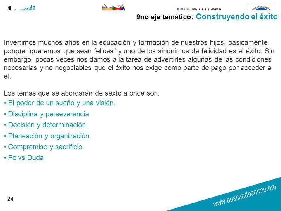 GOBERNACION DE ARAUCA 24 9no eje temático: Construyendo el éxito Invertimos muchos años en la educación y formación de nuestros hijos, básicamente por