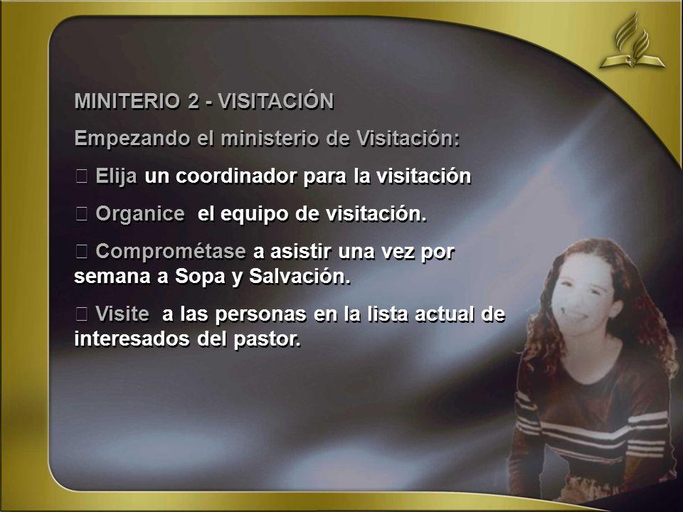 MINITERIO 2 - VISITACIÓN Empezando el ministerio de Visitación: Elija un coordinador para la visitación Organice el equipo de visitación. Comprométase