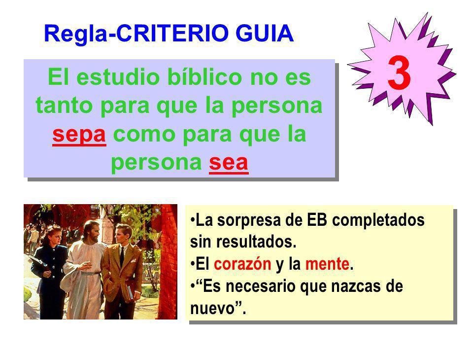 Regla-CRITERIO GUIA 3 El estudio bíblico no es tanto para que la persona sepa como para que la persona sea La sorpresa de EB completados sin resultado