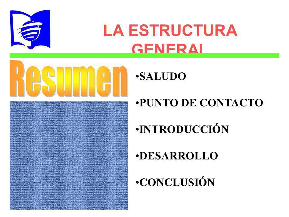 LA ESTRUCTURA GENERAL SALUDO PUNTO DE CONTACTO DESARROLLO CONCLUSIÓN INTRODUCCIÓN