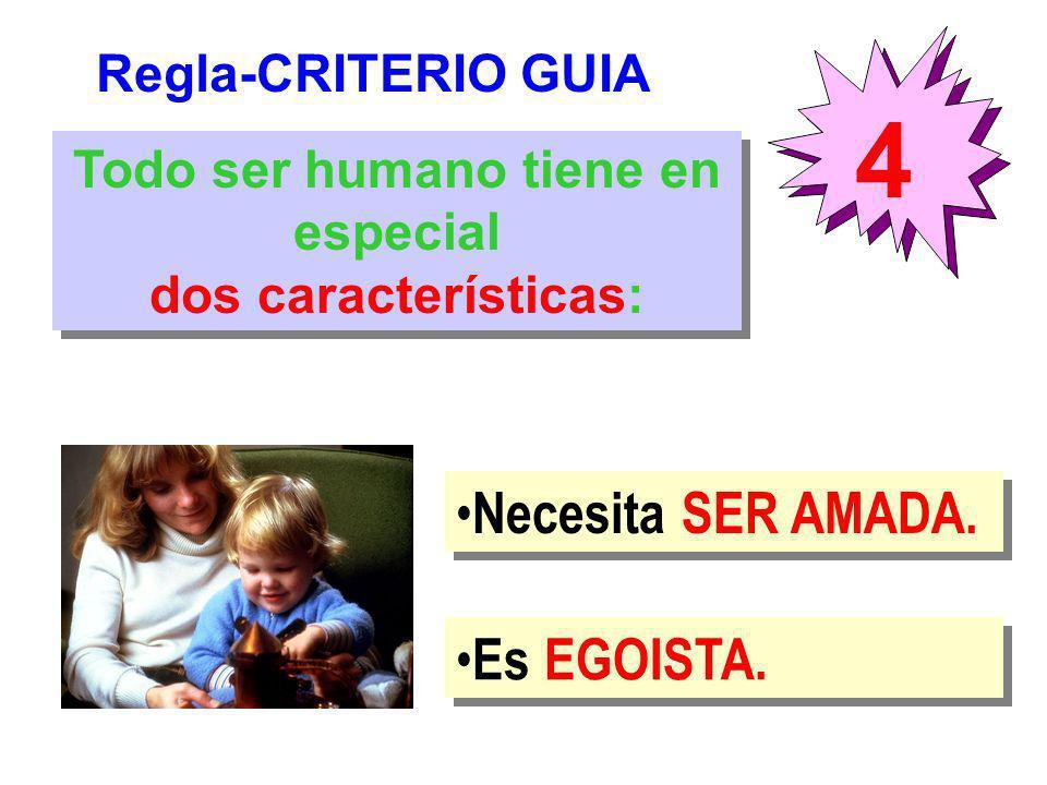 Regla-CRITERIO GUIA 4 Todo ser humano tiene en especial dos características: Todo ser humano tiene en especial dos características: Necesita SER AMADA