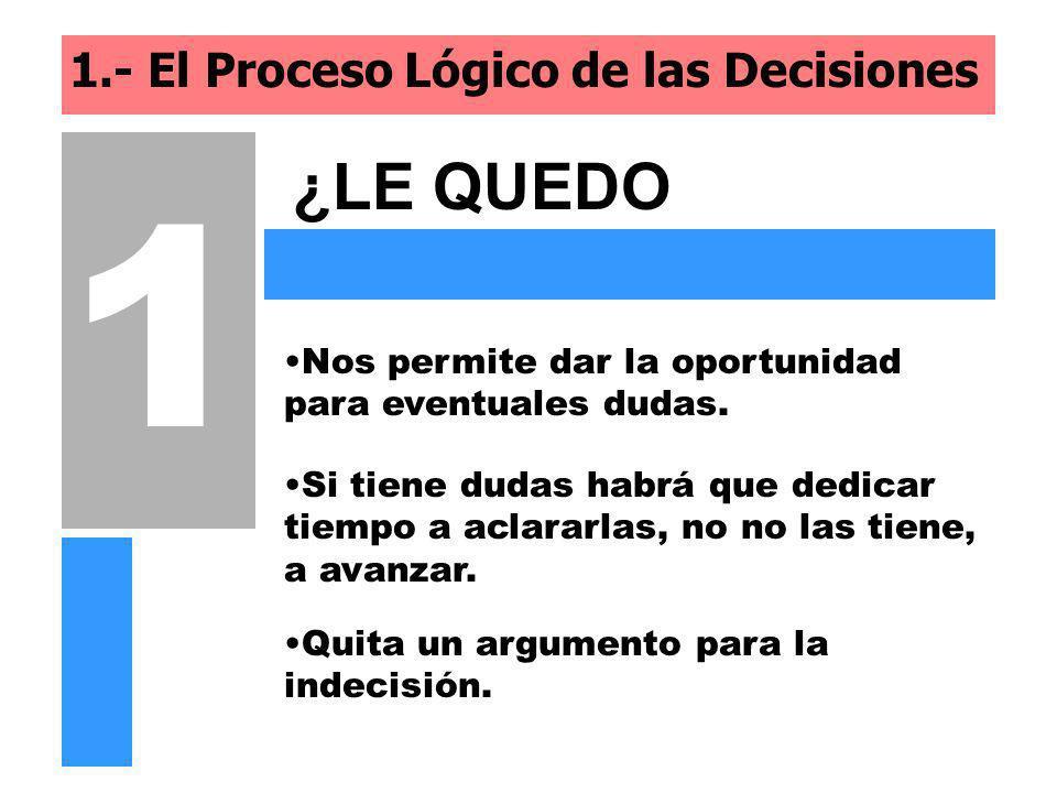 1.- El Proceso Lógico de las Decisiones ¿LE QUEDO CLARO...? 1 Nos permite dar la oportunidad para eventuales dudas. Si tiene dudas habrá que dedicar t