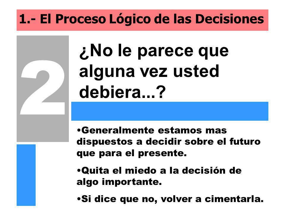 1.- El Proceso Lógico de las Decisiones ¿No le parece que alguna vez usted debiera...? 2 Quita el miedo a la decisión de algo importante. Generalmente