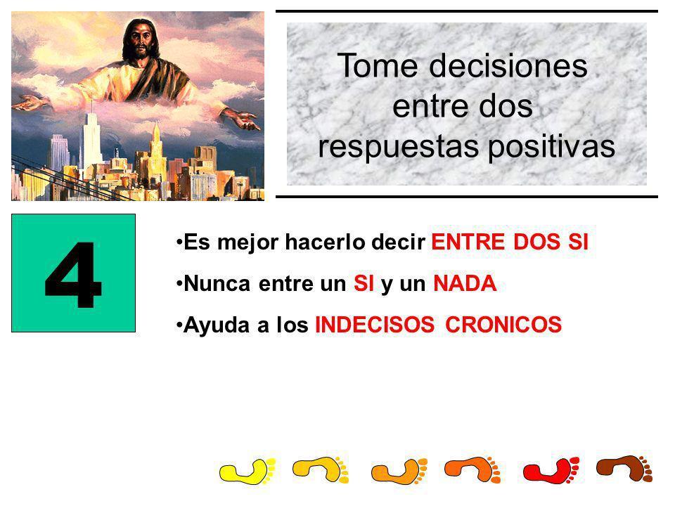 Tome decisiones entre dos respuestas positivas 4 Es mejor hacerlo decir ENTRE DOS SI Nunca entre un SI y un NADA Ayuda a los INDECISOS CRONICOS