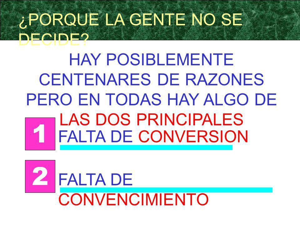 ¿PORQUE LA GENTE NO SE DECIDE? HAY POSIBLEMENTE CENTENARES DE RAZONES PERO EN TODAS HAY ALGO DE LAS DOS PRINCIPALES FALTA DE CONVERSION 1 FALTA DE CON