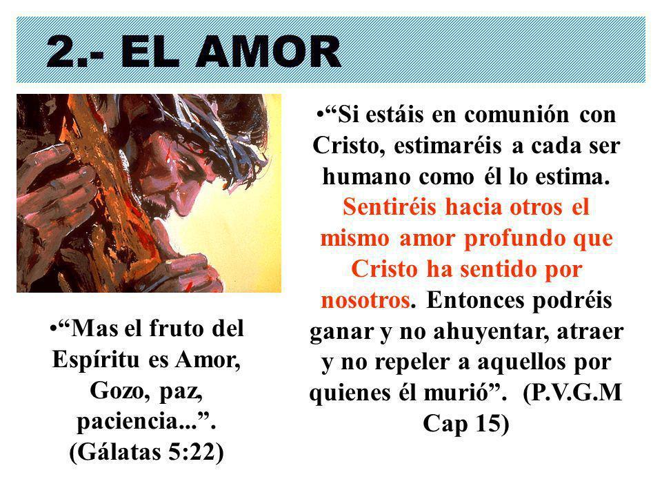 2.- EL AMOR Si estáis en comunión con Cristo, estimaréis a cada ser humano como él lo estima. Sentiréis hacia otros el mismo amor profundo que Cristo