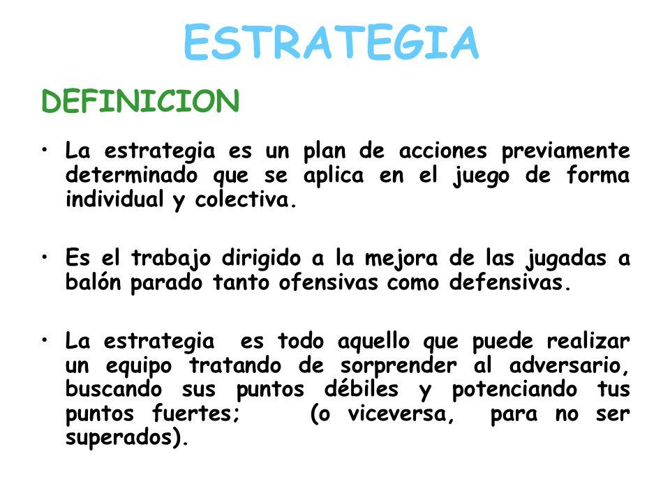 ESTRATEGIA DEFINICION La estrategia es un plan de acciones previamente determinado que se aplica en el juego de forma individual y colectiva. Es el tr