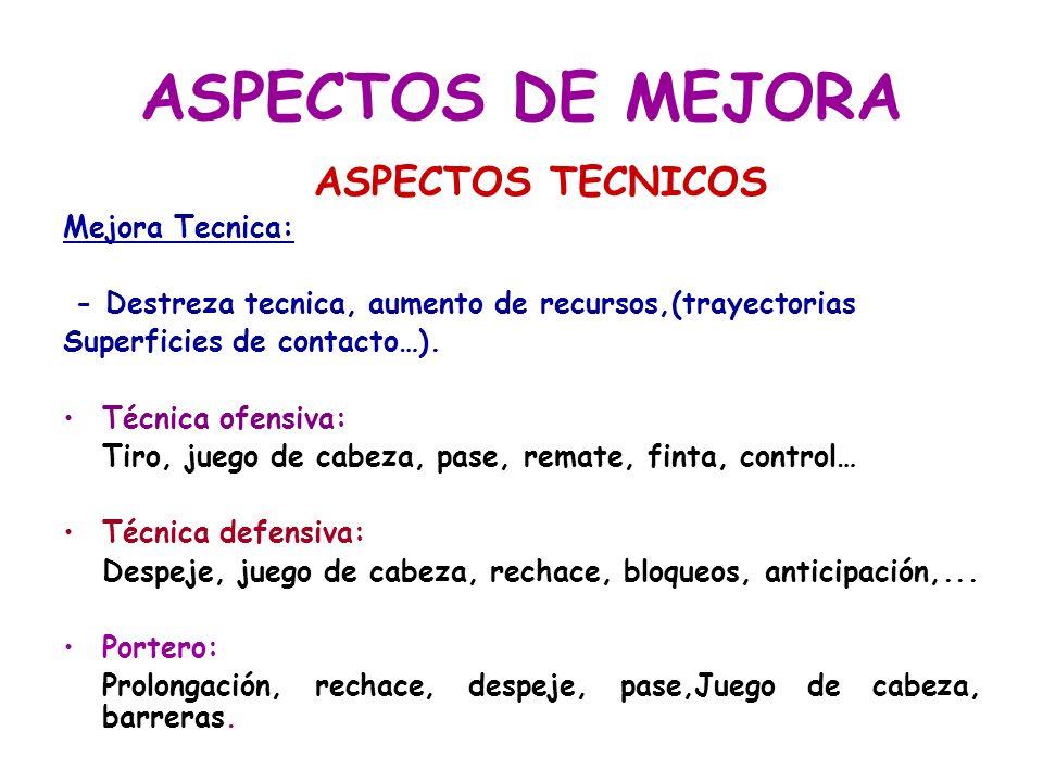 ASPECTOS DE MEJORA ASPECTOS TECNICOS Mejora Tecnica: - Destreza tecnica, aumento de recursos,(trayectorias Superficies de contacto…). Técnica ofensiva