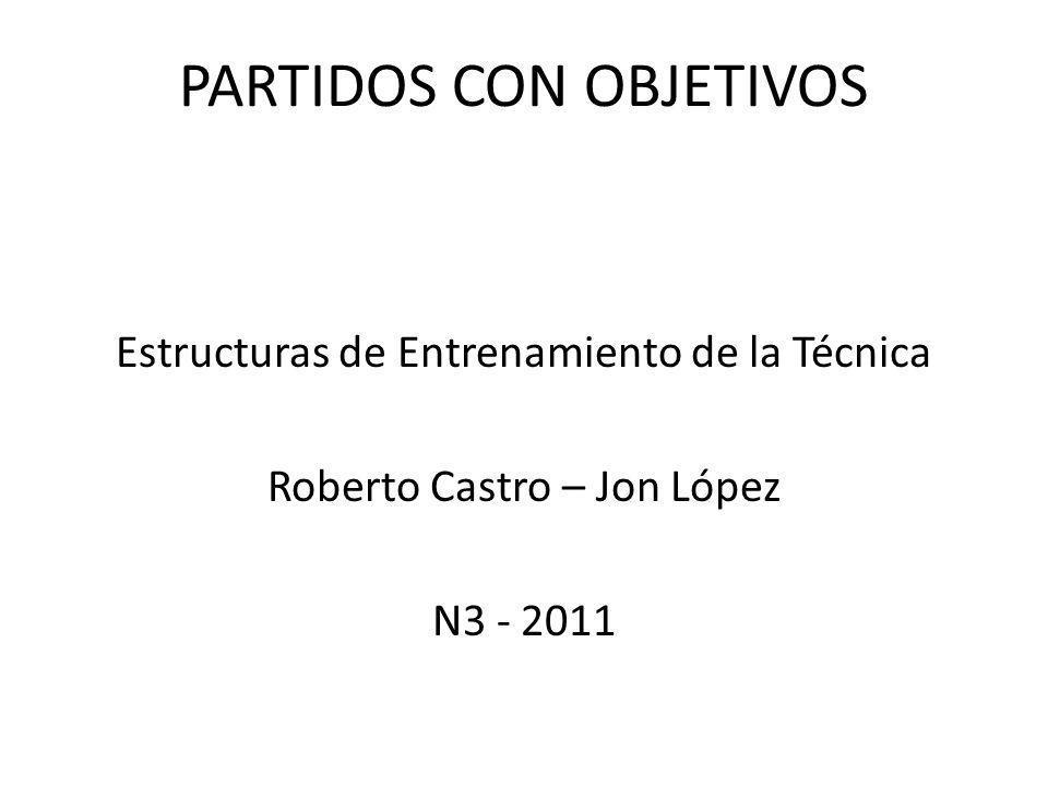 Estructuras de Entrenamiento de la Técnica Roberto Castro – Jon López N3 - 2011 PARTIDOS CON OBJETIVOS