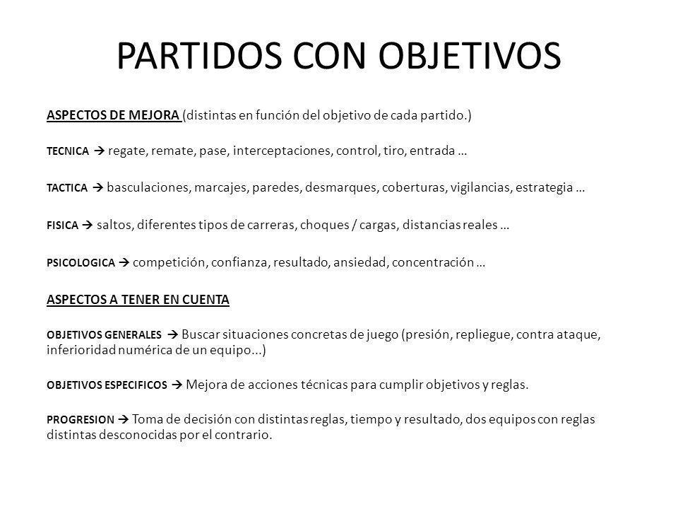PARTIDOS CON OBJETIVOS ASPECTOS DE MEJORA (distintas en función del objetivo de cada partido.) TECNICA regate, remate, pase, interceptaciones, control