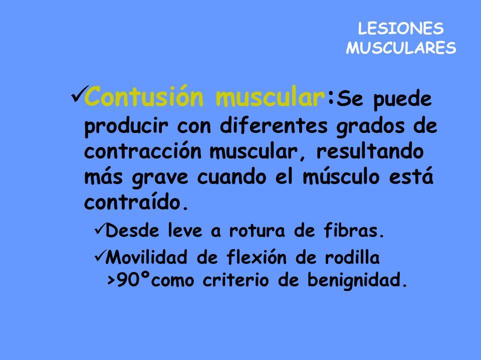 LESIONES MUSCULARES Contusión muscular: Se puede producir con diferentes grados de contracción muscular, resultando más grave cuando el músculo está c