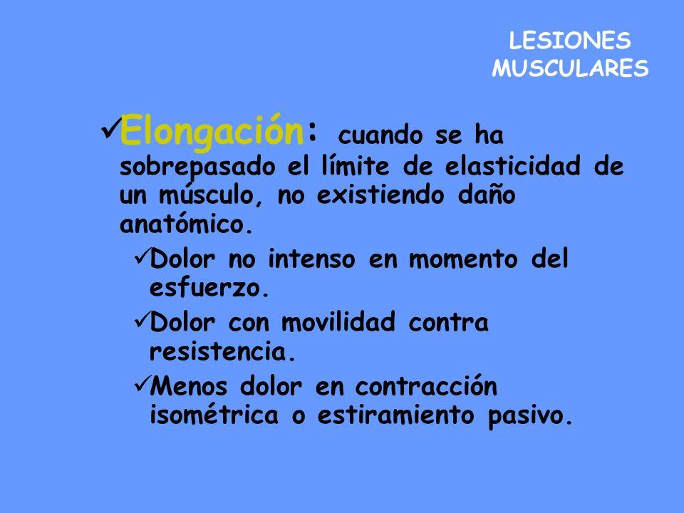 LESIONES MUSCULARES Elongación: cuando se ha sobrepasado el límite de elasticidad de un músculo, no existiendo daño anatómico. Dolor no intenso en mom