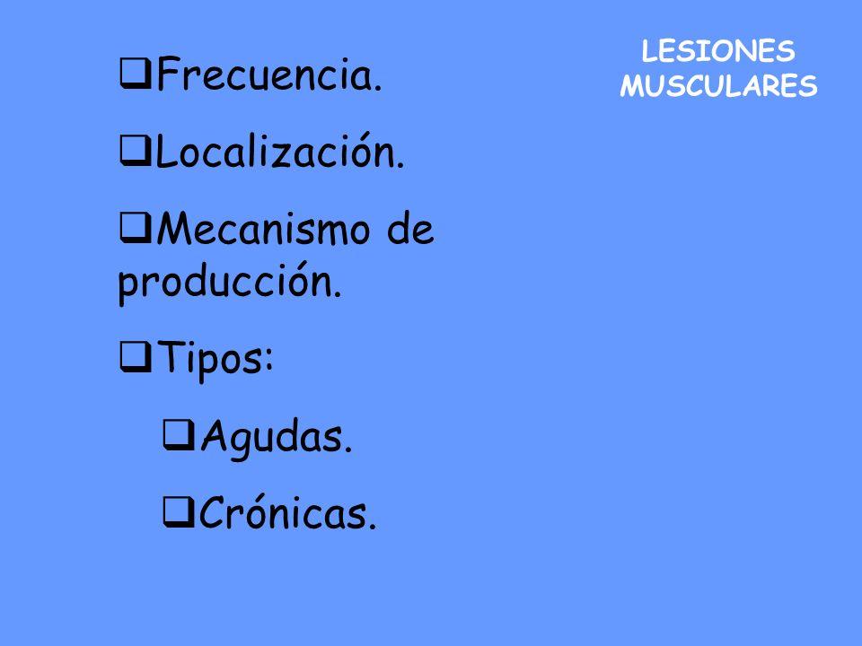 LESIONES MUSCULARES Frecuencia. Localización. Mecanismo de producción. Tipos: Agudas. Crónicas.