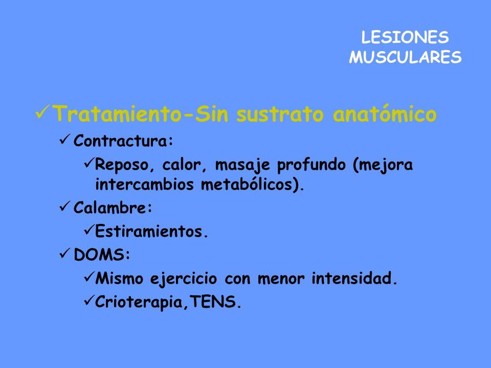 Tratamiento-Sin sustrato anatómico Contractura: Reposo, calor, masaje profundo (mejora intercambios metabólicos). Calambre: Estiramientos. DOMS: Mismo