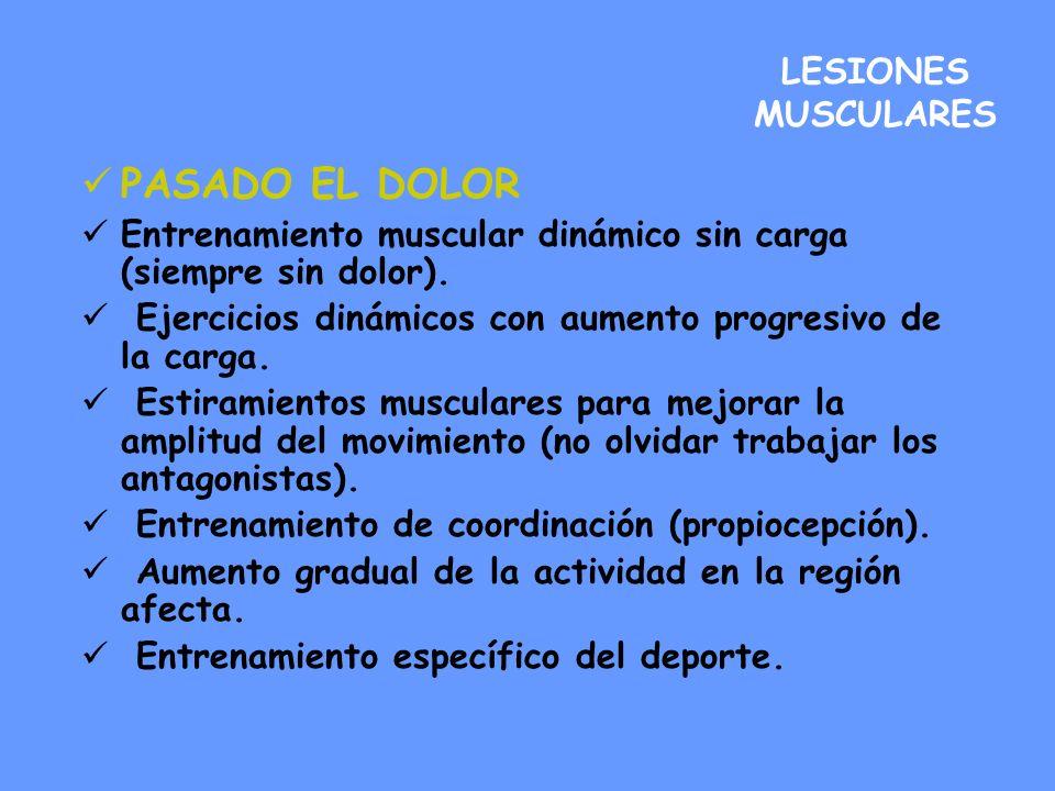 LESIONES MUSCULARES PASADO EL DOLOR Entrenamiento muscular dinámico sin carga (siempre sin dolor). Ejercicios dinámicos con aumento progresivo de la c