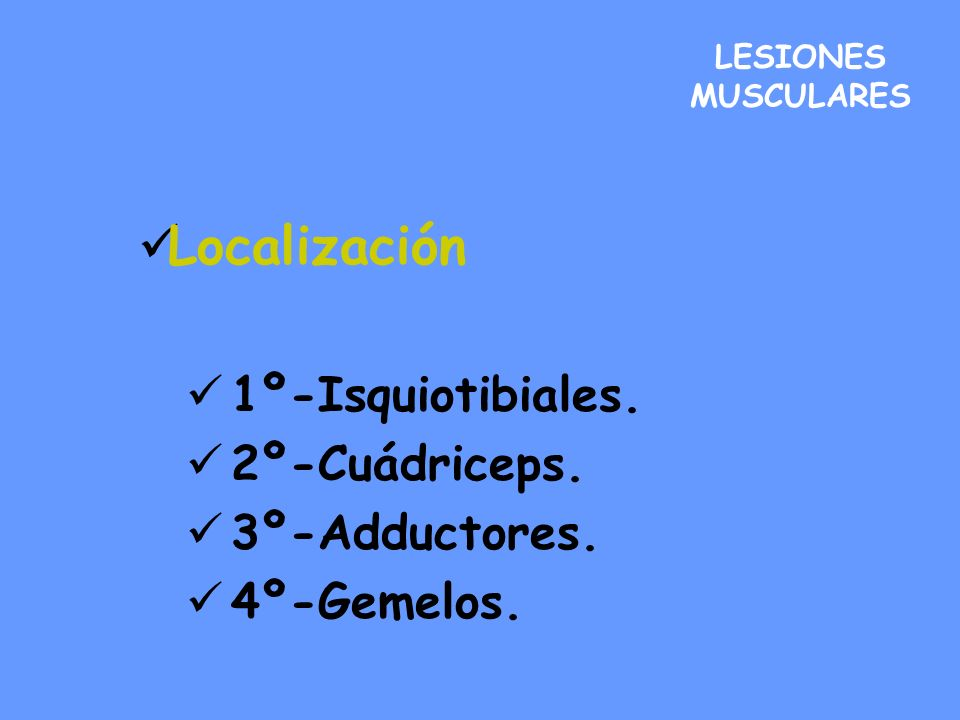 LESIONES MUSCULARES Localización 1º-Isquiotibiales. 2º-Cuádriceps. 3º-Adductores. 4º-Gemelos.