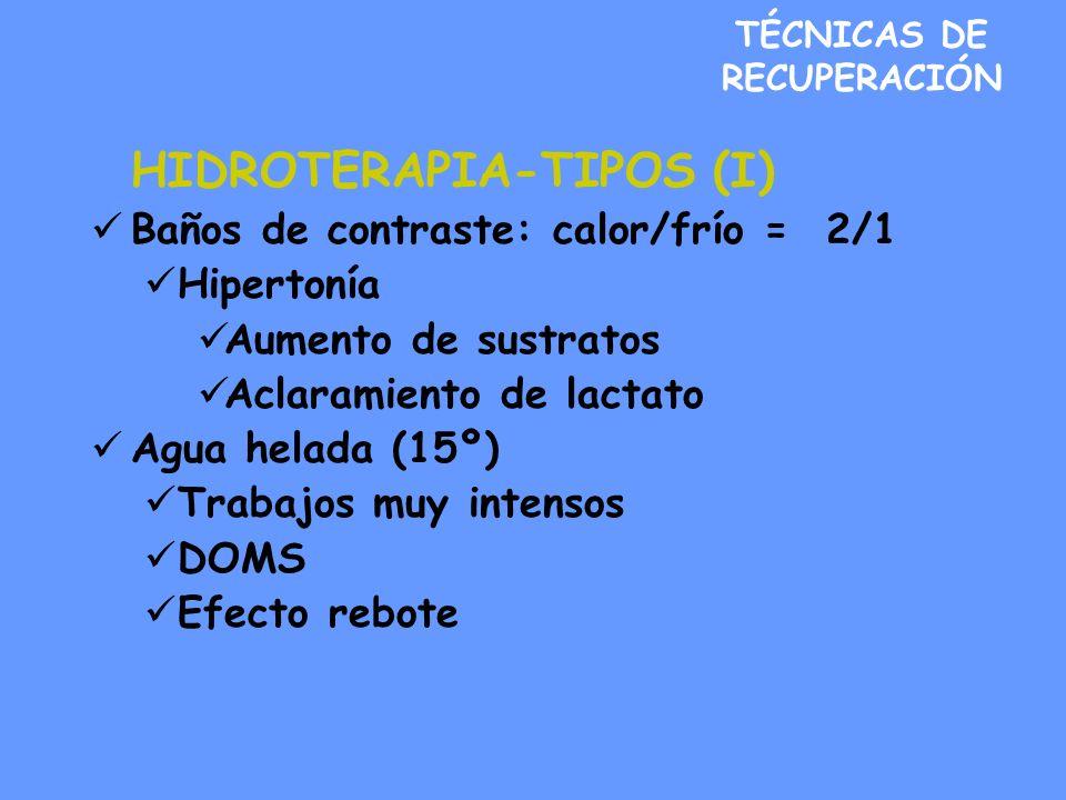 TÉCNICAS DE RECUPERACIÓN HIDROTERAPIA-TIPOS (I) Baños de contraste: calor/frío = 2/1 Hipertonía Aumento de sustratos Aclaramiento de lactato Agua helada (15º) Trabajos muy intensos DOMS Efecto rebote