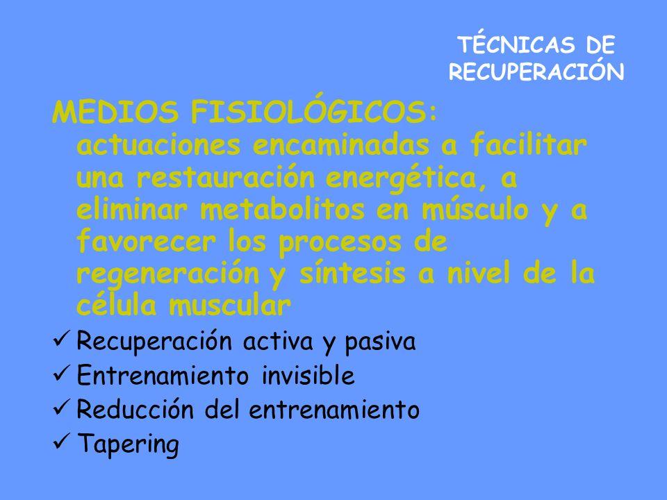 TÉCNICAS DE RECUPERACIÓN MEDIOS FISIOLÓGICOS: actuaciones encaminadas a facilitar una restauración energética, a eliminar metabolitos en músculo y a f