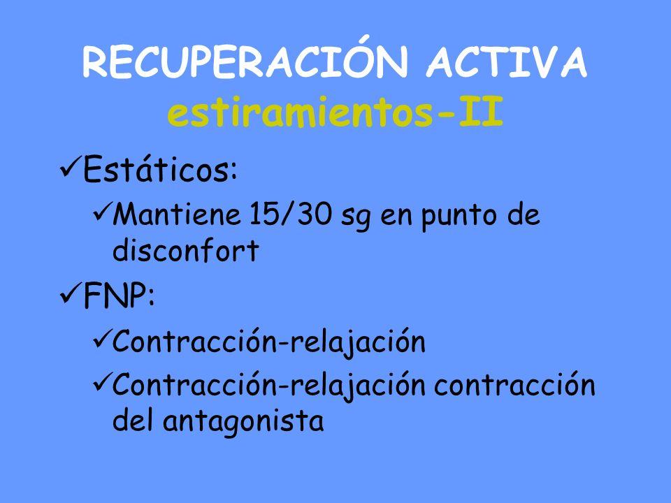 RECUPERACIÓN ACTIVA estiramientos-II Estáticos: Mantiene 15/30 sg en punto de disconfort FNP: Contracción-relajación Contracción-relajación contracción del antagonista