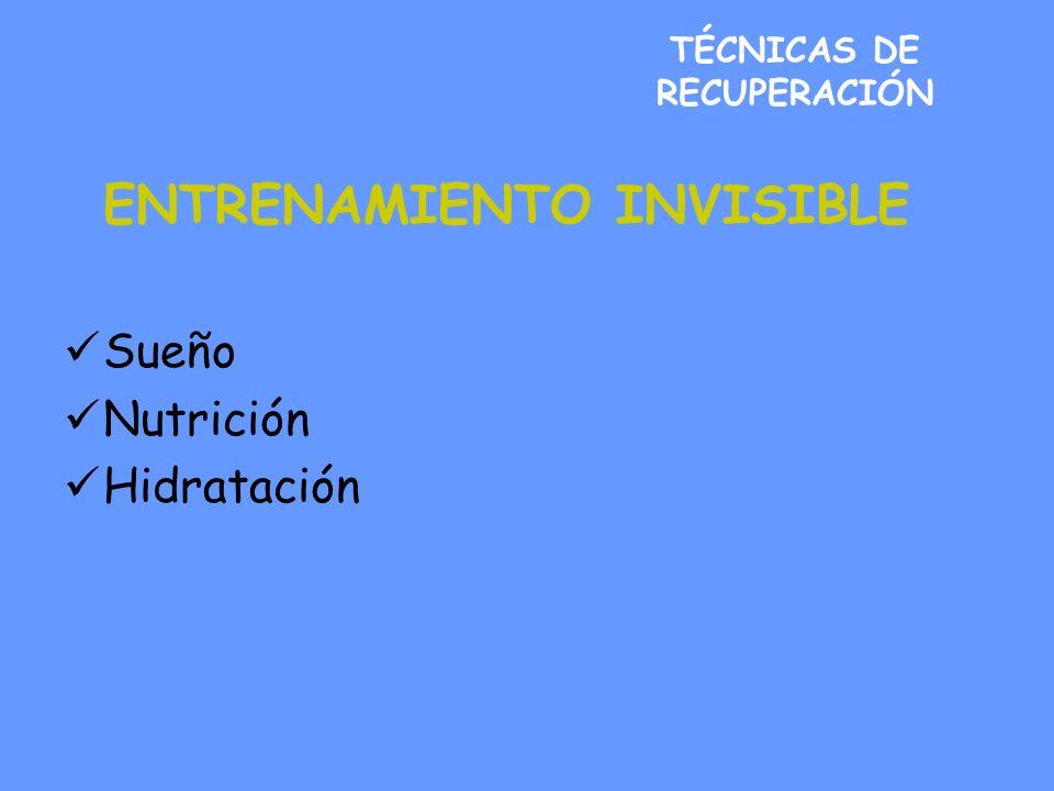 TÉCNICAS DE RECUPERACIÓN ENTRENAMIENTO INVISIBLE Sueño Nutrición Hidratación