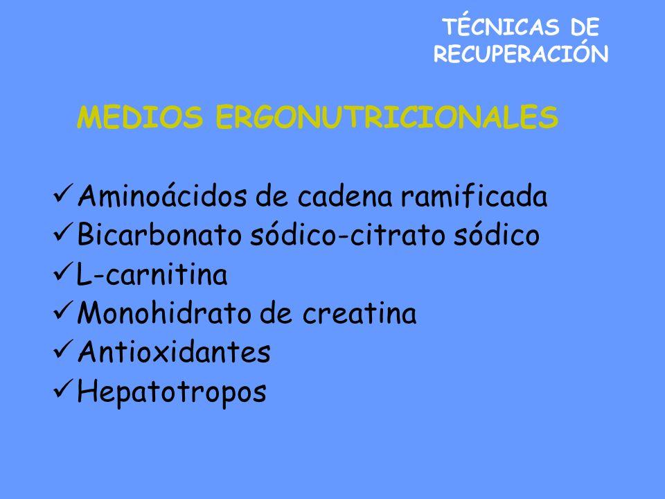 TÉCNICAS DE RECUPERACIÓN MEDIOS ERGONUTRICIONALES Aminoácidos de cadena ramificada Bicarbonato sódico-citrato sódico L-carnitina Monohidrato de creatina Antioxidantes Hepatotropos
