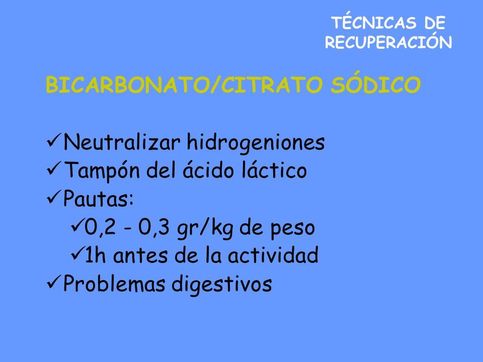 TÉCNICAS DE RECUPERACIÓN BICARBONATO/CITRATO SÓDICO Neutralizar hidrogeniones Tampón del ácido láctico Pautas: 0,2 - 0,3 gr/kg de peso 1h antes de la actividad Problemas digestivos