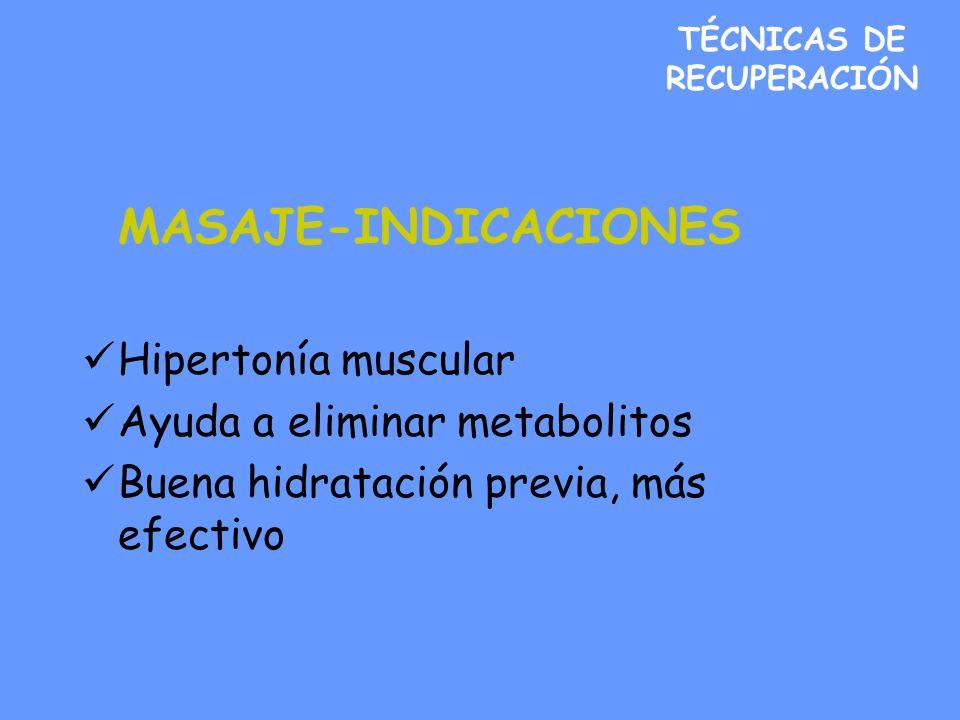 TÉCNICAS DE RECUPERACIÓN MASAJE-INDICACIONES Hipertonía muscular Ayuda a eliminar metabolitos Buena hidratación previa, más efectivo