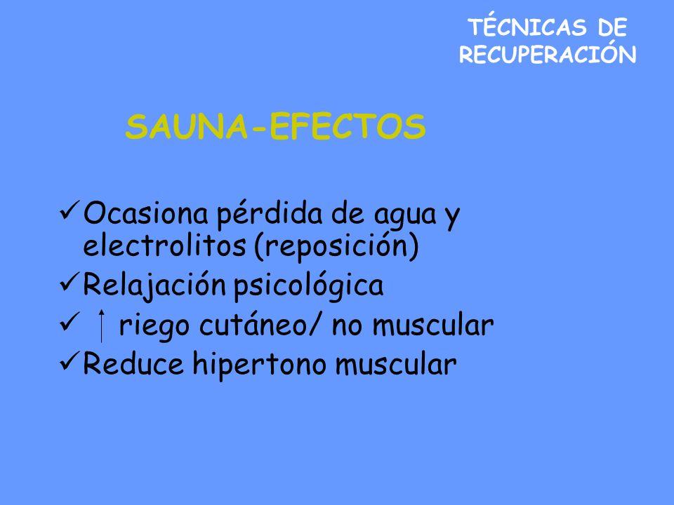 TÉCNICAS DE RECUPERACIÓN SAUNA-EFECTOS Ocasiona pérdida de agua y electrolitos (reposición) Relajación psicológica riego cutáneo/ no muscular Reduce hipertono muscular