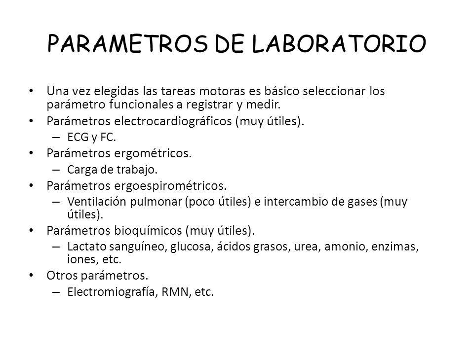 PARAMETROS DE LABORATORIO Una vez elegidas las tareas motoras es básico seleccionar los parámetro funcionales a registrar y medir. Parámetros electroc