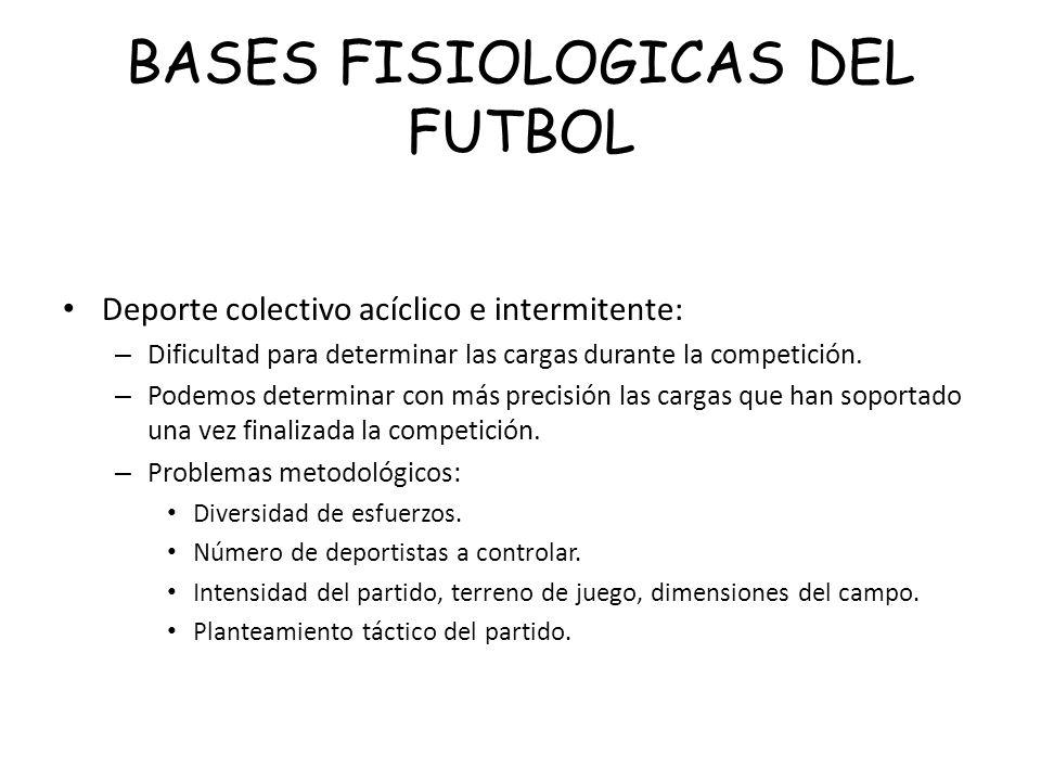 BASES FISIOLOGICAS DEL FUTBOL Deporte colectivo acíclico e intermitente: – Dificultad para determinar las cargas durante la competición. – Podemos det