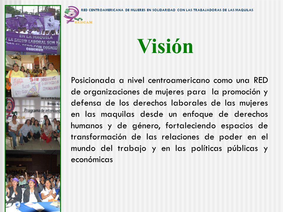 Visión Posicionada a nivel centroamericano como una RED de organizaciones de mujeres para la promoción y defensa de los derechos laborales de las muje