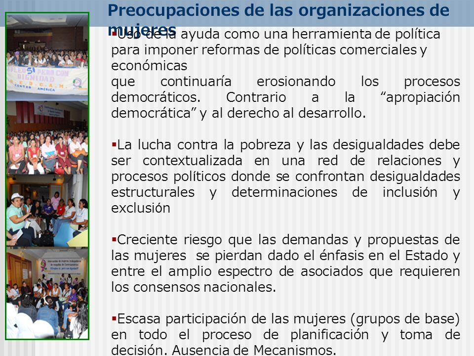 Preocupaciones de las organizaciones de mujeres Uso de la ayuda como una herramienta de política para imponer reformas de políticas comerciales y econ