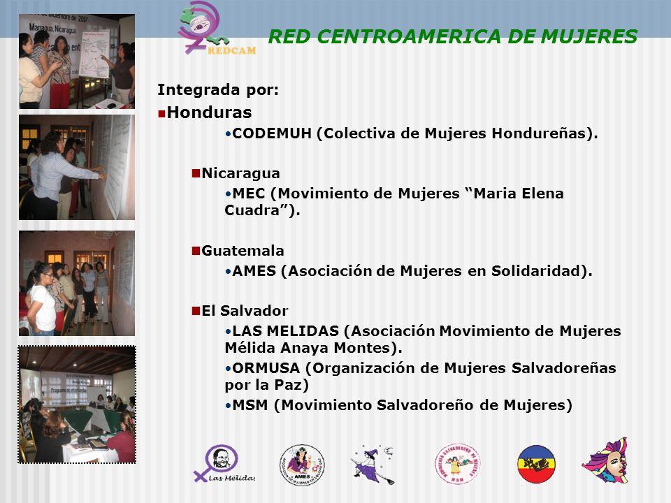 RED CENTROAMERICA DE MUJERES Integrada por: Honduras CODEMUH (Colectiva de Mujeres Hondureñas). Nicaragua MEC (Movimiento de Mujeres Maria Elena Cuadr