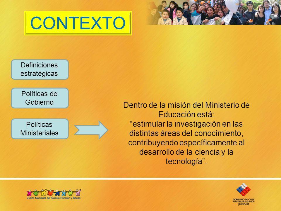 CONTEXTO Definiciones estratégicas Políticas de Gobierno Políticas Ministeriales Dentro de la misión del Ministerio de Educación está: estimular la investigación en las distintas áreas del conocimiento, contribuyendo específicamente al desarrollo de la ciencia y la tecnología.