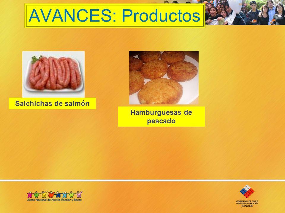 AVANCES: Productos Salchichas de salmón Hamburguesas de pescado
