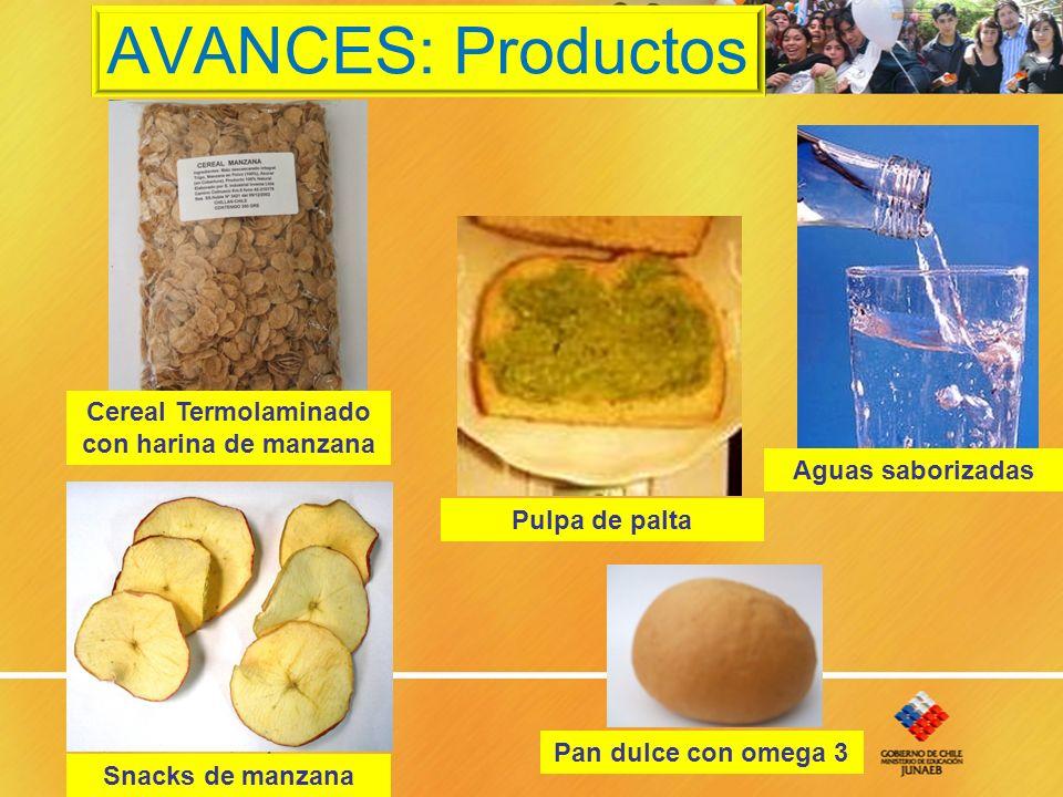 AVANCES: Productos Cereal Termolaminado con harina de manzana Snacks de manzana Pulpa de palta Pan dulce con omega 3 Aguas saborizadas