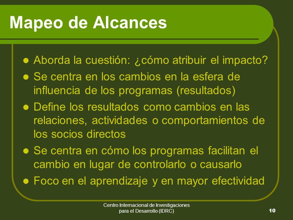 Centro Internacional de Investigaciones para el Desarrollo (IDRC) 10 Mapeo de Alcances Aborda la cuestión: ¿cómo atribuir el impacto.