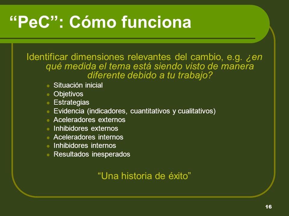 16 PeC: Cómo funciona Identificar dimensiones relevantes del cambio, e.g.