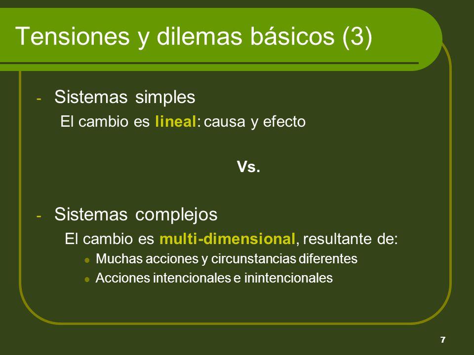 7 - Sistemas simples El cambio es lineal: causa y efecto Vs.